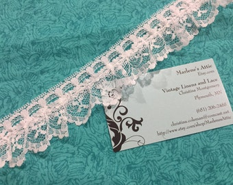 1 yard of 1 1/2 inch White Ruffled Chantilly lace trim for bridal, baby, housewares, sewing, crafts by MarlenesAttic - Item 7WW