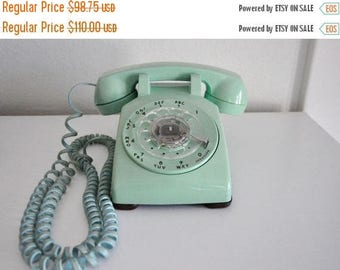 ON SALE Vintage Rotary Phone Working Telephone Western Electric 500DM Seafoam Blue Green