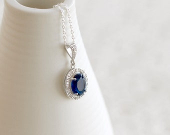 Sapphire Oval Crystal Necklace, Bridesmaid Gifts, Something Blue, Halo Bridal Jewelry, Bridesmaid Jewelry, Wedding Necklace, Blue Necklace