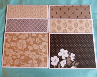 Browns and Tan Handmade Note Cards Thank You Cards Set of 6 with Envelopes