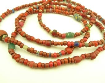 """35"""" mixed maroon drawn Venetian glass trade beads old tribal African AC-0096"""