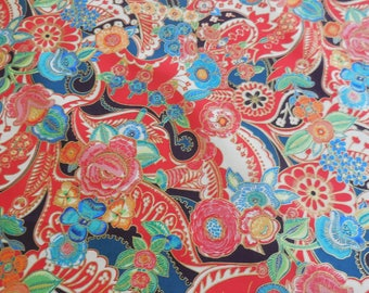 Clara Floral / Red / Christmas Time - Alexander Henry Fabric 1 Yard