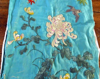 Antique Chinese 19th-century embroidery on turquoise silk with bird
