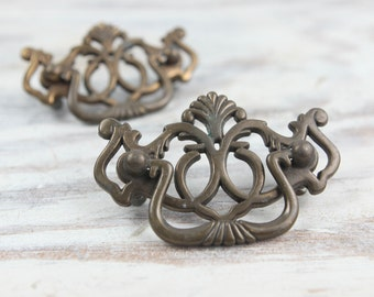 Vintage Brass Large Hardware, Cutout scroll pattern, Handle, Pulls, Mounting Plates for cabinets and Furniture