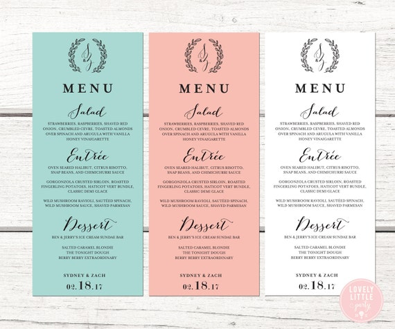 Sydney Collection Wedding Menu printable or printed - Lovely Little Party - You Choose Color