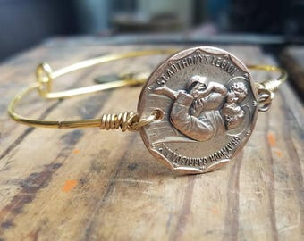 Vintage Religious Medal Bangle Bracelet Catholic Christian Saint Anthony Blessed OOAK St. Elizabeth Ann Seton Sacred Heart Of Jesus and Mary