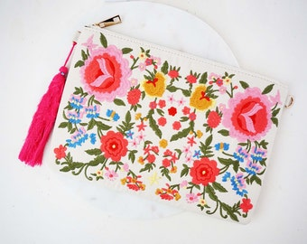 Bright Pink Floral Embroidered Clutch