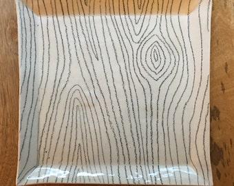 Wood Grain Square Plate