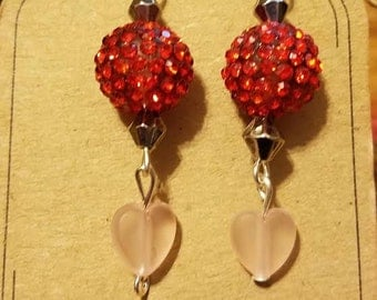 Shamballa Red Earring with Pale Pink Glass Bead Heart 1 Pair Silver Finish Fishhook Style