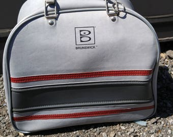 BOWLING BAG Vintage Brunswick / Made in Canada / Striped / Faux Leather