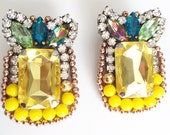 Pineapple Beaded Stud Earrings, Yellow, Green Beaded Earrings, stud earrings