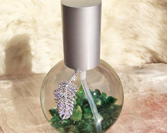 Healing Precious Gemstone Aromatherapy Spray with REAL rough Emeralds and REAL Rose Essential Oil