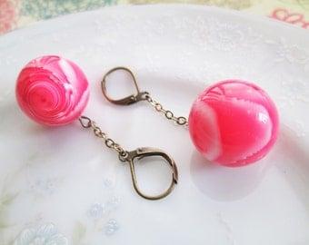 Upcycled Pink Marble-Style Swirl Earrings, Chain Drop Earrings, Antique Bronze, OOAK, Nickel Free, Hypoallergenic