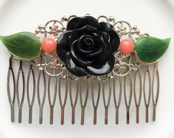 Repurposed Vintage Hair Comb, Large Black Rose with Green Enamel Leaves, Silver Filigree Hair Comb Accessory OOAK