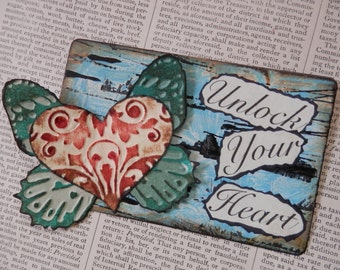 "ACEO ATC one-of-a-kind Original ""Unlock Your Heart"" Artist Trading Card on a Playing Card"