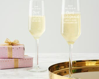 Personalised 'Will You Be My Chief Bridesmaid?' Champagne Flute