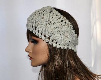 Crochet Ear Warmer, Womens Crochet Headband in Aran Fleck, Fall and Winter head accessory, Style 1