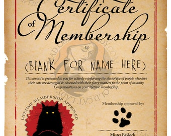 Society of Mad Old Cat Ladies BLANK certificate A4