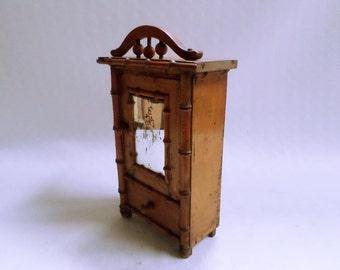 Faux Bamboo Dollhouse Armoire Wardrobe circa 1900 (v734)