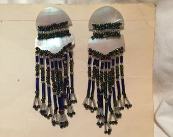 vintage dangly earrings 1980s 1990s mother of pearl and glass beads