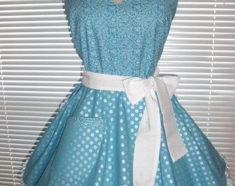 Retro Pinup Style Apron in Icy Blue Featuring Pretty Pearlized Dots Paired with Blue Floral White Accents Circular Flirty Skirt