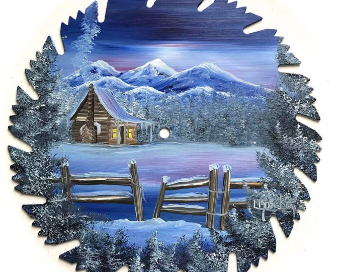 Hand Painted Saw Blade Mountain 4 Seasons Log Cabin All 4 for one price