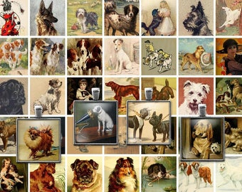 Digital Clip Art Vintage Victorian Dogs Collage Sheet - 1x1 Inch squares -  Inchies -  JPEG - Instant Download - Downloadable - Cu use