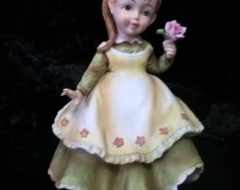 Lefton Girl With Flower Signed & Seal