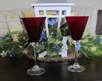 Ruby red stemware, wineglasses   (2) 20 % off sale, limited time