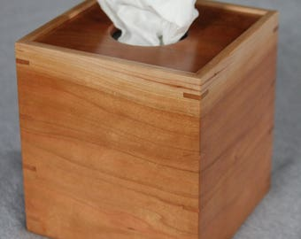 Boutique Tissue Box Cover Handmade out of Cherry - FREE Shipping To USA
