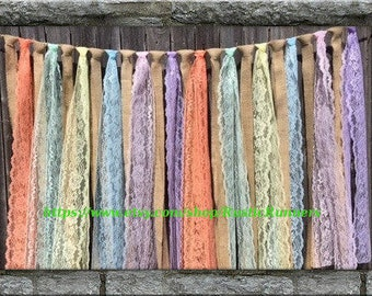 Spring or Easter Burlap and Pastel colors Lace Hanging Garland  Swag Rag Tie Backdrop decor, Easter colored lace and burlap hanging garland