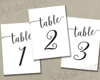 "Instant Download PRINTABLE  Table Numbers 1-50 - 4x6"" Reception Table Numbers - Black Ink - 2 per page - Digital pdf file - elegant script"