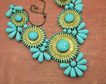 Runway Necklace - Turquoise Bead Medallion Bib Necklace - High Fashion - Hand Made - Wired Turquoise Beads - Gold Metal Medallions - 20-23""