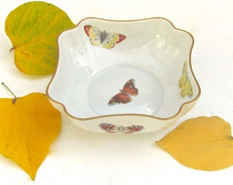 Antique Limoges, Butterfly Bowl, By Bernardaud & C, Finest Porcelain, Made in France, Delicately Painted, Perfect Condition, Gift Wrapped