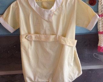 Vintage yellow boys romper 6-9 mo/ vintage baby boys clothes/ baby clothes