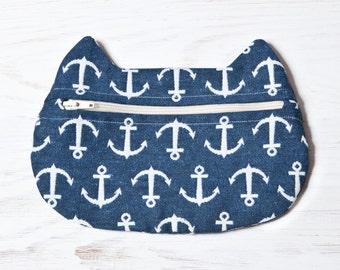 Blue Cosmetic Bag, Cat bag Cat Lover Gift, Nautical Makeup Bag, Cat Makeup Pouch, Nautical Accessory, Girls pencil case, Cute Pencil Case