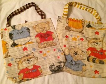 4 Shirt Tales Upcycled Fold Up Grocery Bags Reclaimed Vintage Sheets