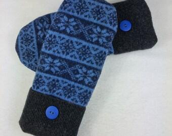 Sweater Mittens Felted Wool Fleece Lined Blue Fair Isle Blue Gray Navy