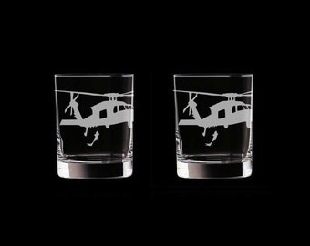 MH-60 Seahawk Set of 2 Scotch Whiskey Glasses US Navy helicopter helo