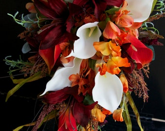 Bride Fall Wedding Bouquet Ivory Calla Lily Burgundy Lily with  Orange Accents 18 Piece set Plus Arrangement