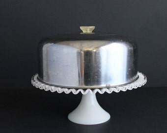 Vintage Polished Steel Cake Cover With Acrylic Handle Chome Pastry Dome