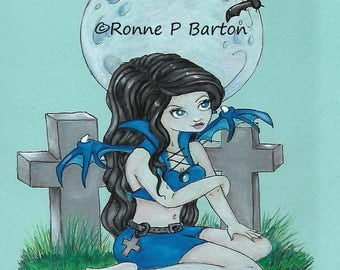 Gothling cute big eye gothic fairy faerie faery fae dark fantasy ORIGINAL colored pencil art