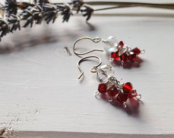 Esther - Red & Silver Crystal Earrings, Ready to Ship