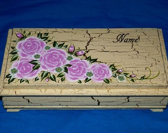 Decorative Tea Box Wood Tea Chest Hand Painted Tea Storage Organizer Gold Jewelry Box Anniversary Gift