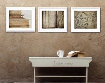 Book Photographs, Large Wall Art, Neutral Farmhouse Decor, Rustic Library Art, Set of 3 Prints - SAVE 20%