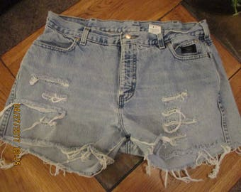 Harley Davidson CUTOFF Jean SHORTS High Waisted Cut Off W 35 tag size 14 Grunge destroyed