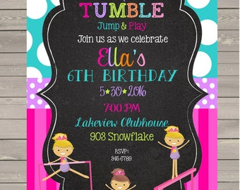 12 Gymnastics Birthday Party invitations with envelopes - tumbling party invitations- chalk- chalkboard- any colors