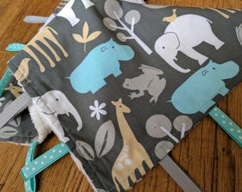 Baby Tag Blanket - Zoo Animals - Grey White Blue Yellow - Baby Boy - Ready to Ship