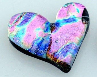 Fused Glass Heart, Heart Cabochon, Dichroic Cabochon, Handmade Cabochon