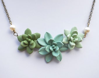 Succulent Necklace. Trio Succulents Centered Necklace in Dusty Mint, Green and Light Pale Green. Succulent Jewelry
